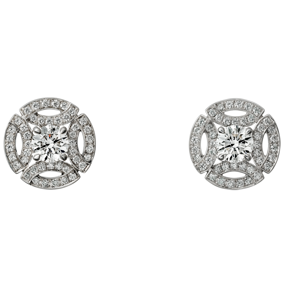 Cartier White Gold Diamond Earrings as seen on Meghan Markle