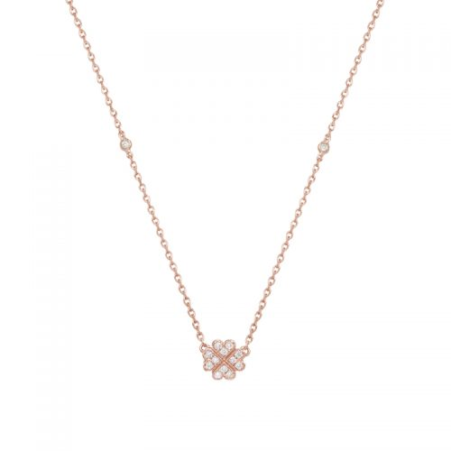 Vanessa Tugendhaft Rose Gold Clover Hearts Necklace as seen on Meghan Markle