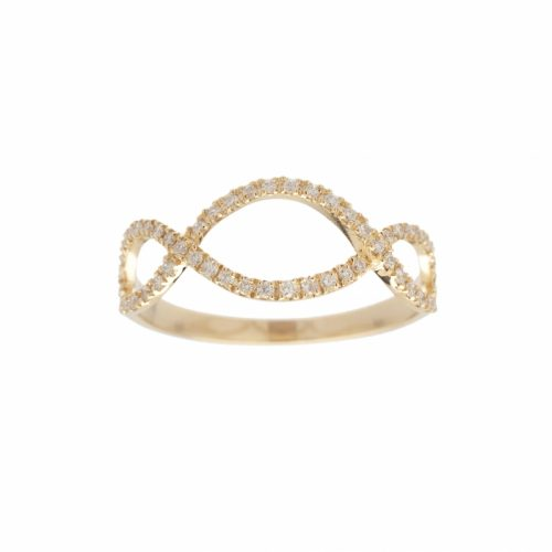 Vanessa Tugendhaft Infinity Promise Ring in Yellow Gold Diamonds as seen on Meghan Markle