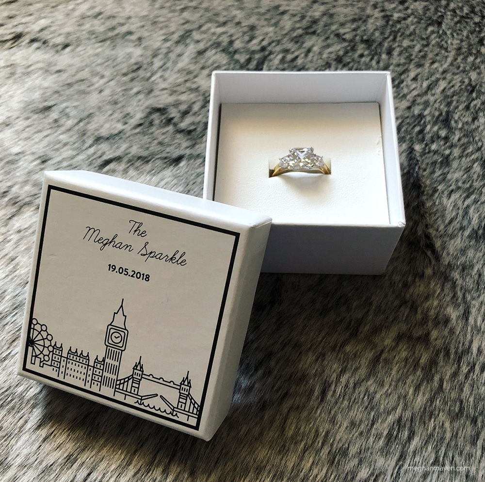 Buckley London Meghan Sparkle engagement ring replica, gifted to Sabrina of Meghan Maven.