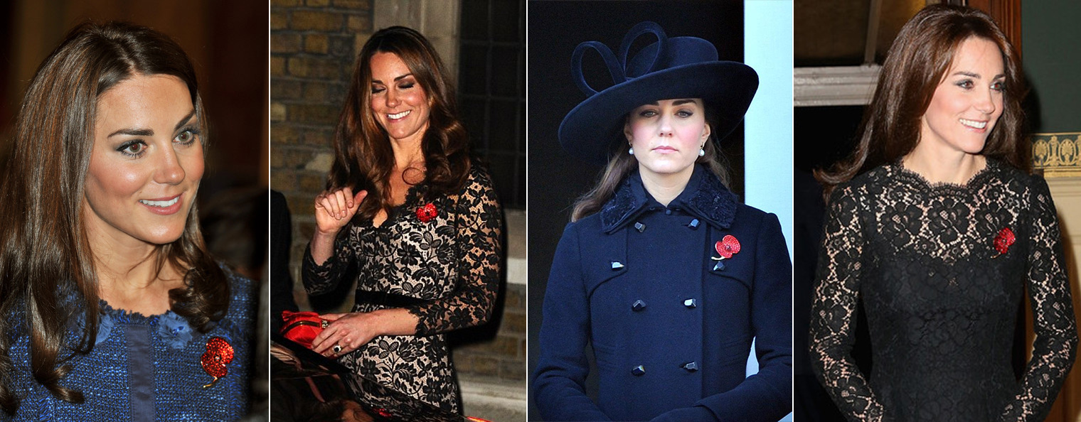 Kate Middleton Duchess of Cambridge wearing Buckley London Crystal Poppy Brooch.
