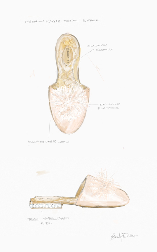 Meghan Markle custom Birdies bridal slipper EXCLUSIVE first look sketch.