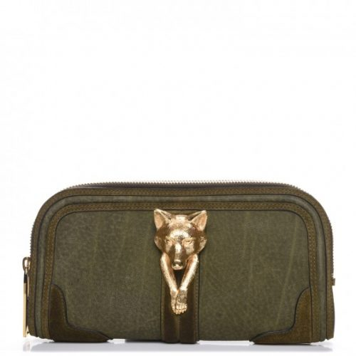Burberry Prorsum nubuck Alma clutch in olive green as seen on Meghan Markle