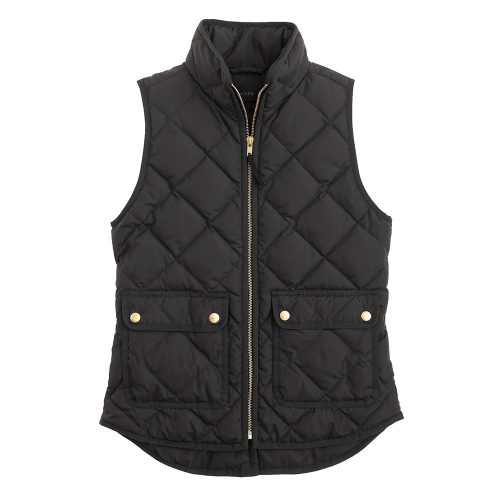 J.Crew Excursion Quilted Down Vest in Black as seen on Meghan Markle