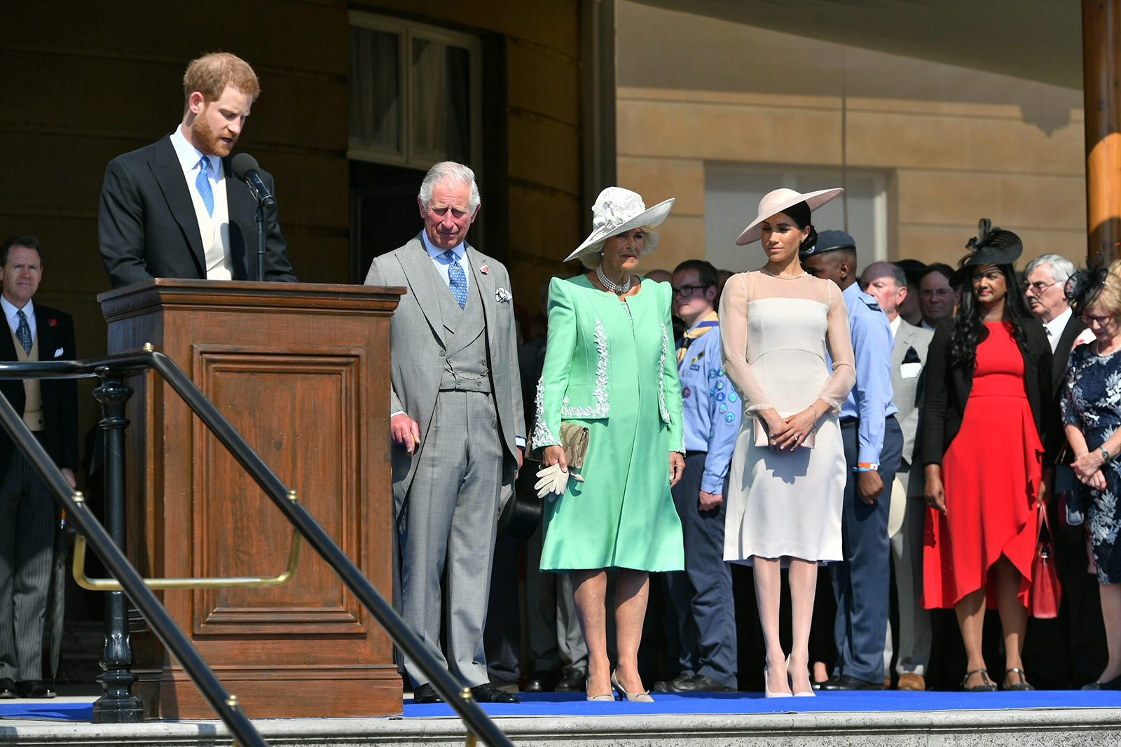 Meghan Markle makes royal debut as Duchess of Sussex at the Prince of Wales's 70th Birthday Garden Reception at Buckingham Palace on 22 May, 2018.