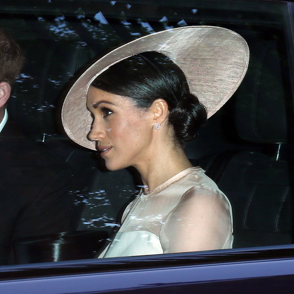Earring detail - Meghan Markle makes royal debut as Duchess of Sussex at the Prince of Wales's 70th Birthday Garden Reception at Buckingham Palace on 22 May, 2018.