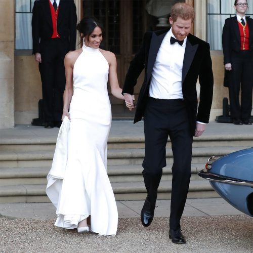 Meghan, Duchess of Sussex, leaves Windsor Castle for the evening reception at Frogmore House wearing a bespoke Stella McCartney gown.