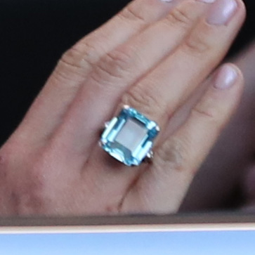 Meghan Markle royal wedding evening reception look and jewelry - Aquamarine Ring