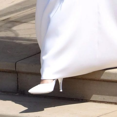 Meghan Markle, Duchess of Sussex, wedding shoes by Givenchy.