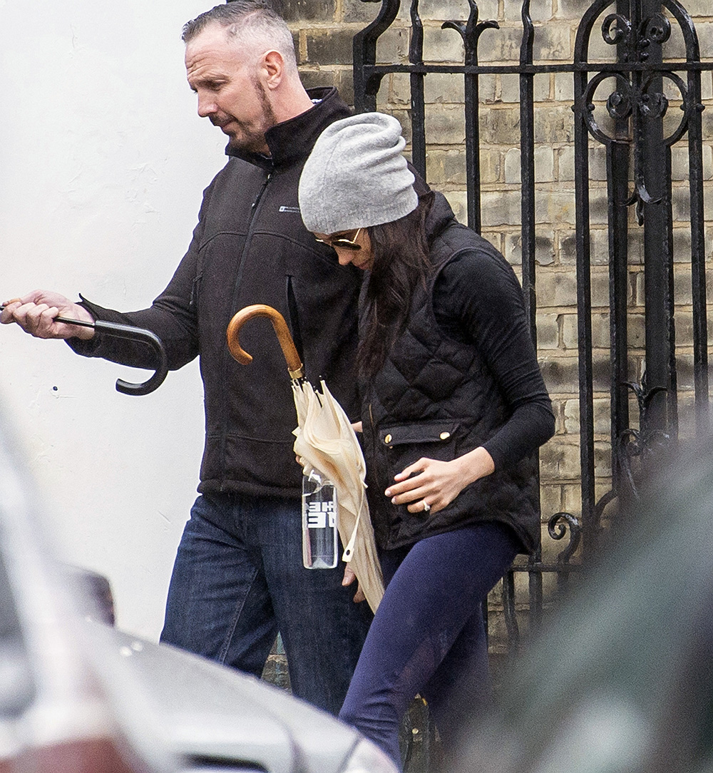 Meghan Markle at Heartcore fitness in Kensington with a Royal Protection Officer in tow on 4 May, 2018.