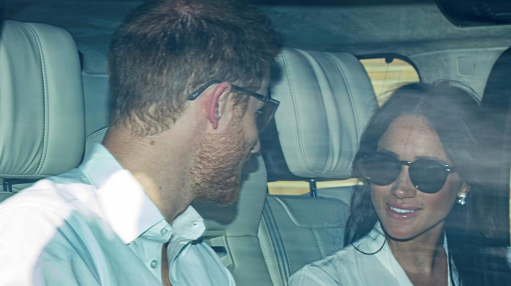 Meghan Markle and Prince Harry at Windsor Castle for wedding rehearsal on May 17, 2018.