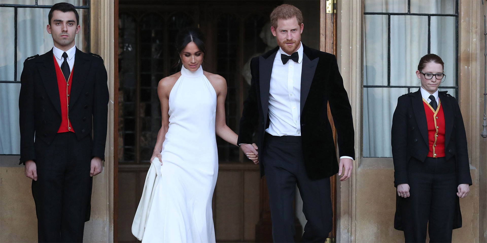 Royal Wedding: Prince Harry and Meghan Markle aka the Duke and Duchess of Sussex depart Windsor Castle for their evening reception at Frogmore House on 19 May, 2018.