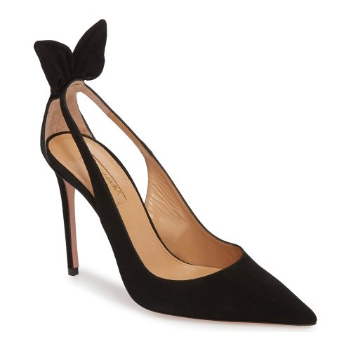 Aquazzura Deneuve Bow Pointy Toe Pumps as seen on Meghan, Duchess of Sussex