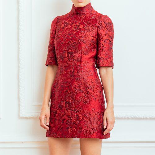 Dolce & Gabbana short sleeve red brocade mini dress as seen on Meghan Markle