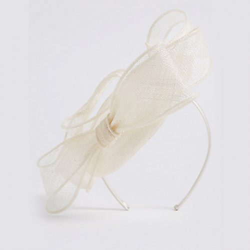 Marks & Spencer Pillbox Bow Fascinator in Cream as seen on Meghan Markle, Duchess of Sussex