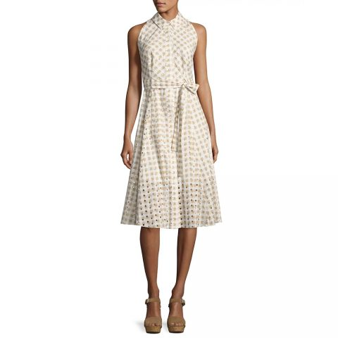 Shoshanna Ashland Sleeveless Belted Gingham Eyelet Dress in Sand as seen on Meghan, Duchess of Sussex