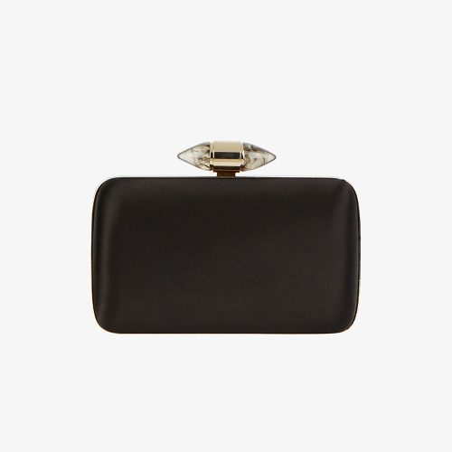 Givenchy Satin Clutch with Jewelry Clasp in Black as seen on Meghan Markle, Duchess of Sussex.