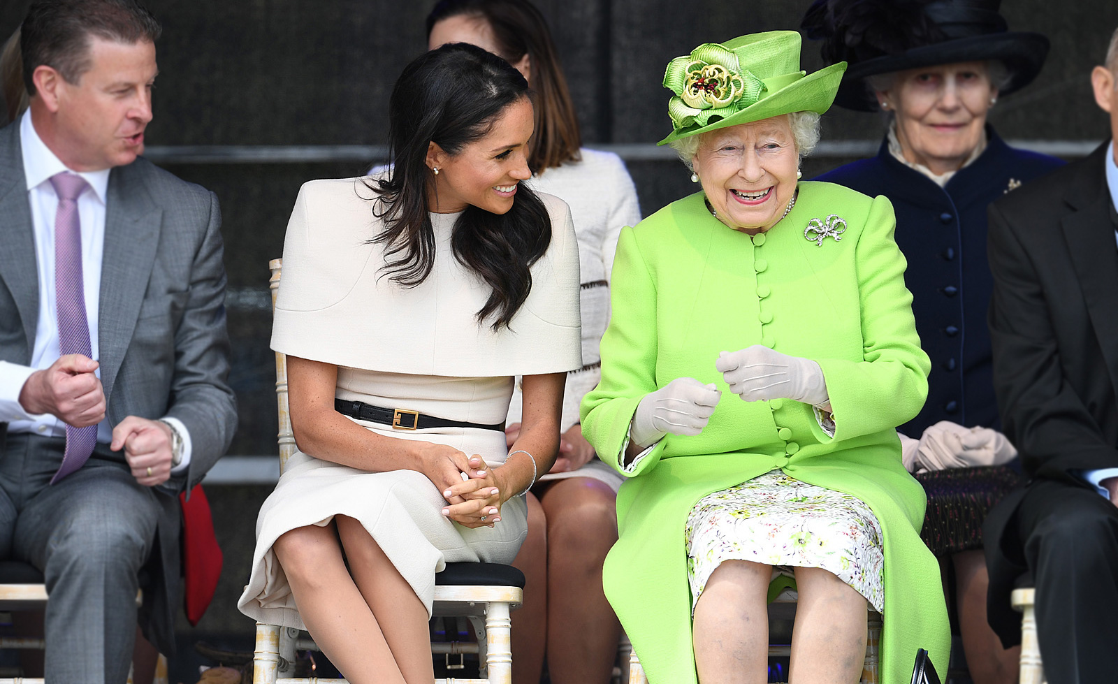 Duchess of Sussex and Her Majesty the Queen embarked on their very first official trip together, just the two of them, carrying out a full day of engagements in Chester, England on 14 June 2018.
