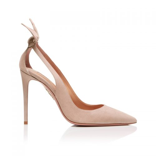 Aquazzura 105 Deneuve Bow Pumps in Powder Pink as seen on Meghan Markle, Duchess of Sussex.