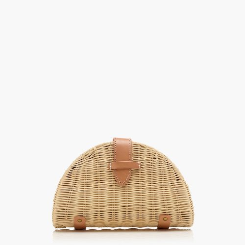 J.Crew Fan rattan clutch in Pink Multi as seen on Meghan, Duchess of Sussex.