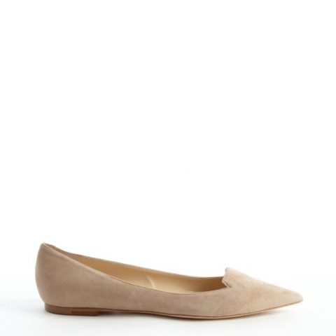 Jimmy Choo 'Attila' Natural Nude Suede Pointed Toe Flats as seen on Meghan Markle.