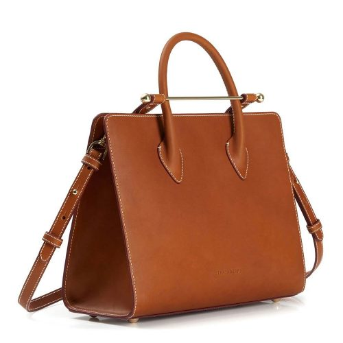 The Strathberry Midi Tote in Tan Bridle Leather as seen on Meghan, Duchess of Sussex.