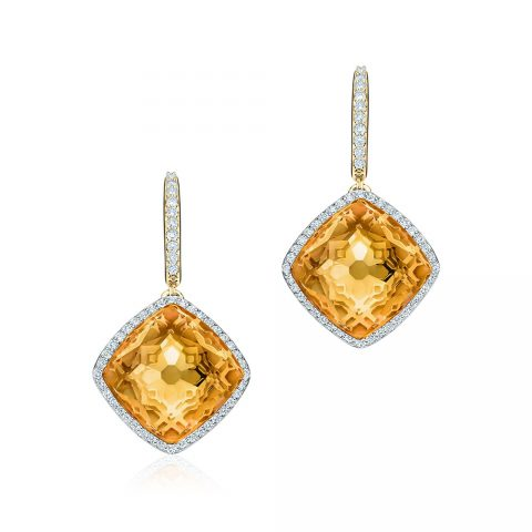 Birks Muse Citrine and Diamond Drop Earrings as seen on Meghan, Duchess of Sussex.