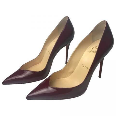 Christian Louboutin Corneille Patent Leather Pumps in Burgundy.