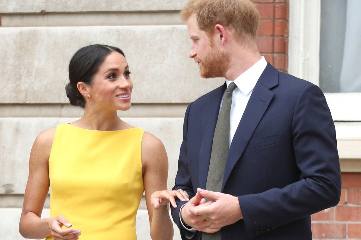 Meghan, Duchess of Sussex wore this Brandon Maxwell Sleeveless Dress to meet youngsters from across the Commonwealth at the Your Commonwealth Youth Challenge reception at Marlborough House in London on 5 July. 2018.