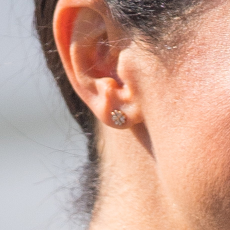 Earring detail: Prince Harry, Duke of Sussex and Meghan, Duchess of Sussex visit Dublin, Ireland on July 10, 2018.
