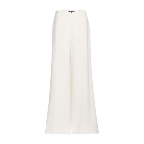 Ralph Lauren Collection Silk Charmaine Wide-Leg Trousers in Cream as seen on Meghan Markle, Duchess of Sussex.