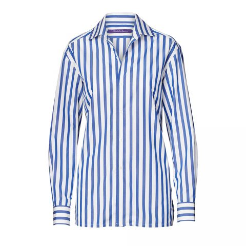 Ralph Lauren Collection striped shirt in White Classic Blue as seen on Meghan Markle, Duchess of Sussex.