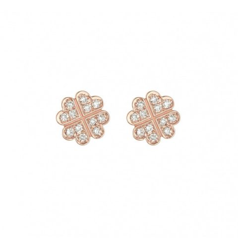 Vanessa Tugendhaft clover earrings paved with diamonds in Rose Gold as seen on Meghan, Duchess of Sussex.