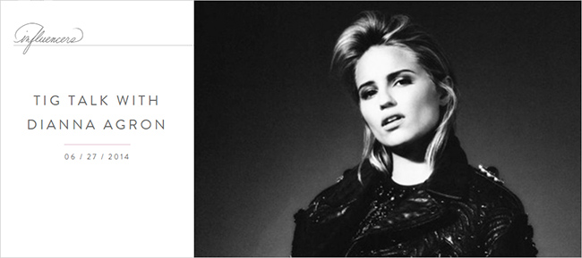 TIG Talk with Dianna Agron by Meghan Markle | The TIG archive Meghan Maven