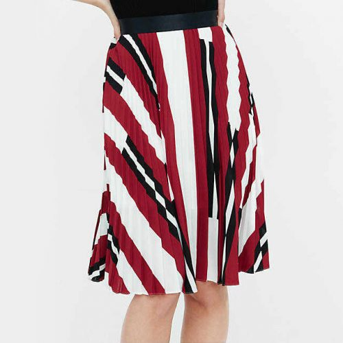 Express Striped Pleated Skirt as seen on Meghan Markle