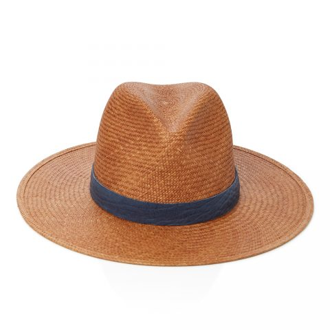 Janessa Leone Navy Leather-Trimmed Straw Panama Hat as seen on Meghan Markle