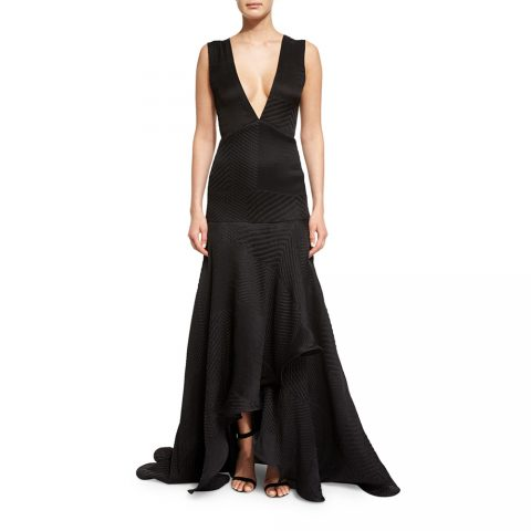 Jason Wu woven v-Neck plisse gown as seen on Meghan Markle