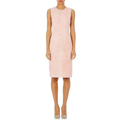 Theory Suede Sheath Dress in Light Pink as seen on Meghan Markle