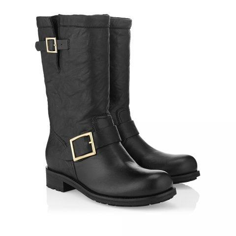 Jimmy Choo Black Biker Leather Boots as seen on Meghan Markle