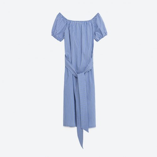 Zara Striped Midi Dress with belt in Blue and White as seen on Meghan Markle