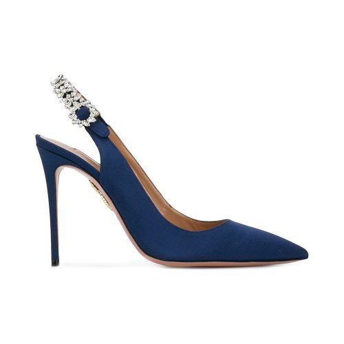 Aquazzura Portrait of a Lady Pumps in Navy as seen on Meghan Markle, Duchess of Sussex