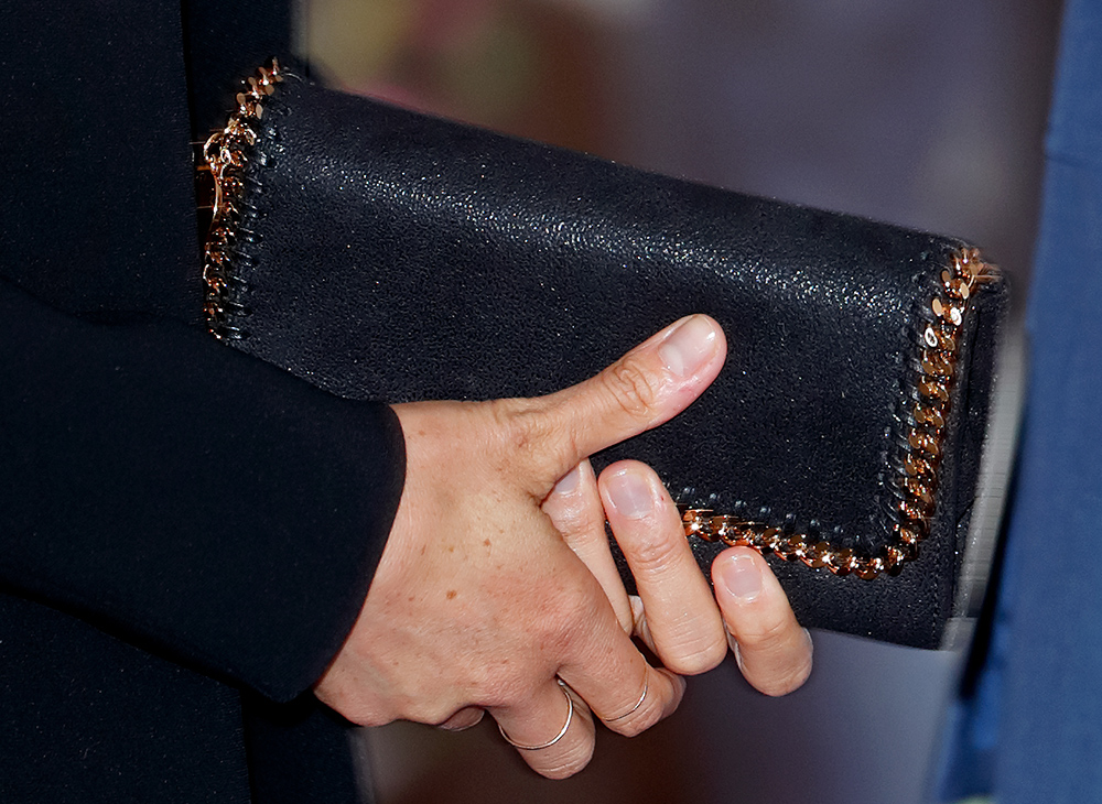 Bag detail: Meghan Markle, Duchess of Sussex at the WellChild awards at Royal Lancaster Hotel on September 4, 2018 in London, England.