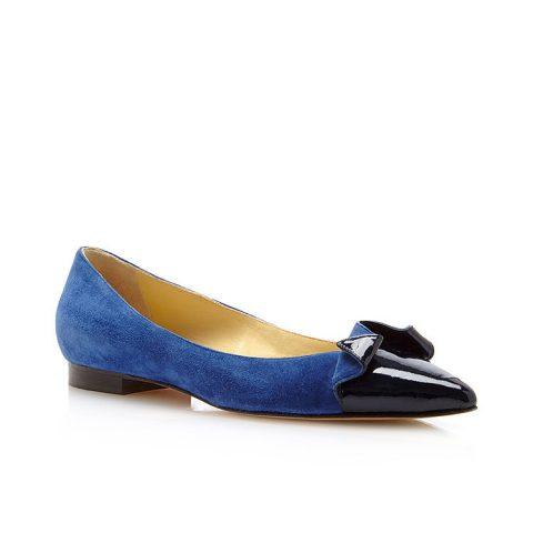 Sarah Flint 'Lisa' cobalt blue suede flats as seen on Meghan Markle