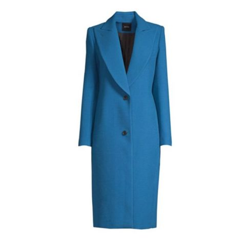 Smythe button-front peaked lapel coat in Zephyr as seen on Meghan, Duchess of Sussex