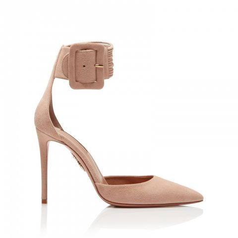 Aquazzura Casablanca Pumps 105 in Powder Pink as seen on Meghan Markle / Duchess of Sussex