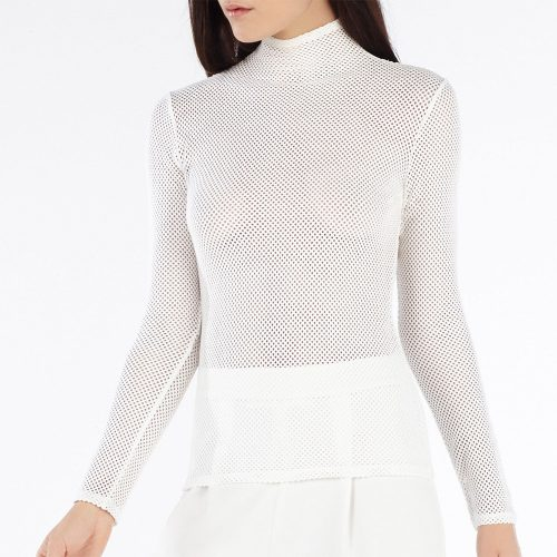 BCBGMAXAZRIA Ashlynd Mesh Turtleneck Top as seen on Meghan Markle