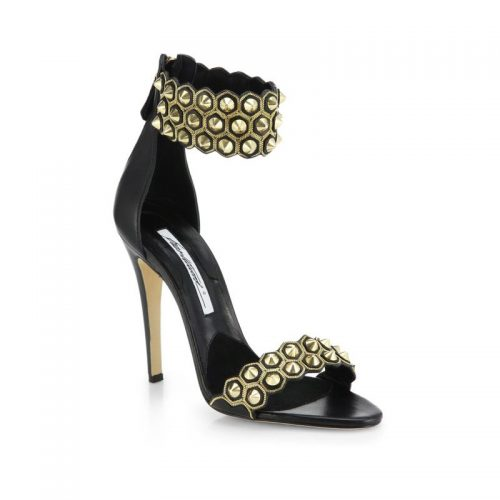 Brian Atwood 'Abell' ankle cuff gold stud sandals as seen on Meghan Markle
