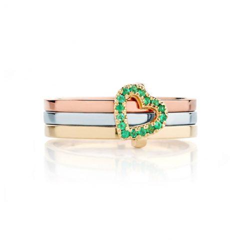 Ecksand Emerald Secret Heart Stackable Ring