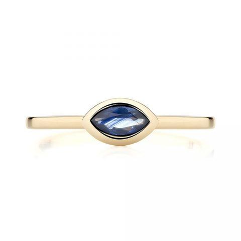 Ecksand Blue Sapphire Bezel Stackable Ring as seen on Meghan Markle, the Duchess of Sussex
