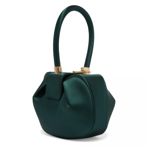 Gabriela Hearst Demi emerald satin tote as seen on Meghan, Duchess of Sussex